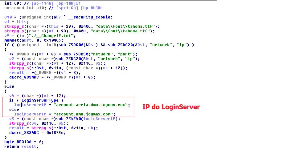 Login Server IP